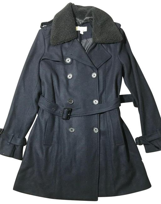 Item - Blue New Sherpa Collar Wool Jacket Double Breasted Coat Size 12 (L)