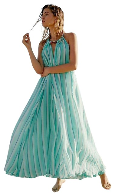 Item - Blue New Turning Tides Striped Beaded Long Casual Maxi Dress Size 0 (XS)
