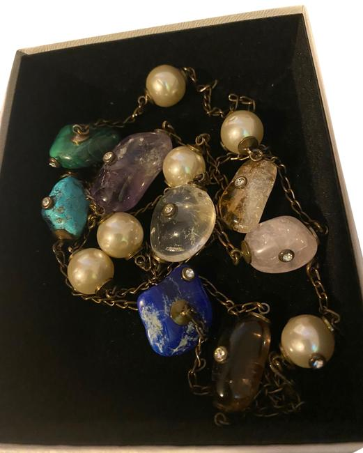 Item - Multi Color Vintage Pearl Beads Stone Long Necklace