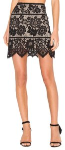 For Love & Lemons Sexy Cutouts Cutout Lacy Straight Mini Skirt Black, Tan