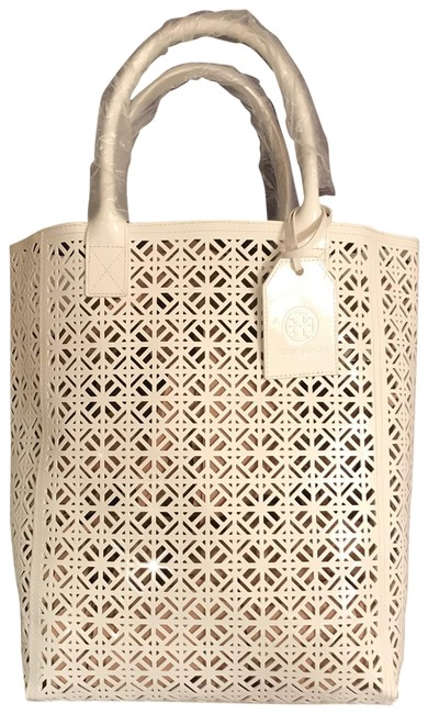 Item - New Lace Laser Cut Vegan White Faux Leather Tote