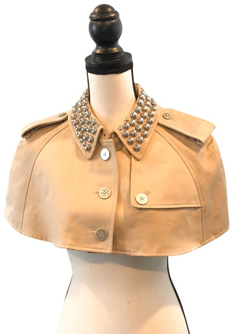Item - Tan Cropped Studded Shawl Button / Poncho/Cape Size 6 (S)