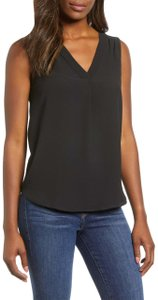 Gibson Monochrome Sleeveless Crepe Top Black