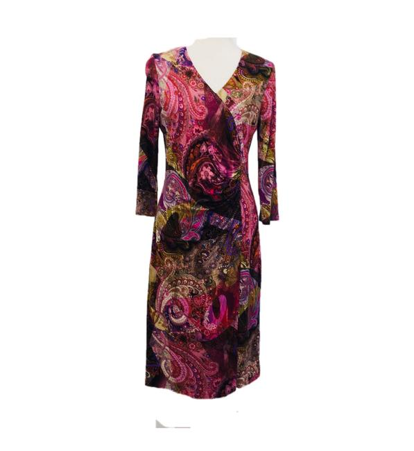 Item - Brilliant Mix Of Colors Ruched V-neck Viscose Mid-length Work/Office Dress Size 10 (M)