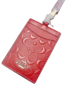 Coach Coach ID Holder Lanyard Red Leather Embossed NWT