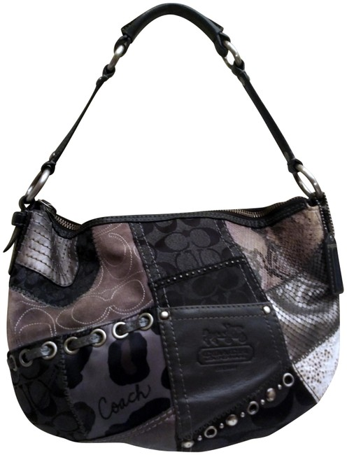Item - Soho F0893-13003 Patchwork Black Leather Hobo Bag