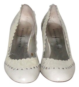 Rebeca Sanver Ivory Silver Leather Scalloped Embellishment Two-tone 2 3/4