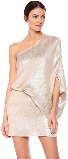 Item - Silver & Taupe One Shoulder Cocktail Short Night Out Dress Size 2 (XS)