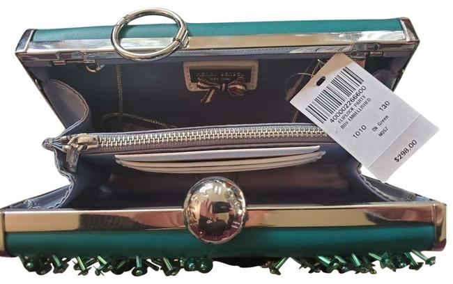 Item - Box Embellished Fliplock Party Box/Clutch Green Leather and Sequins Clutch