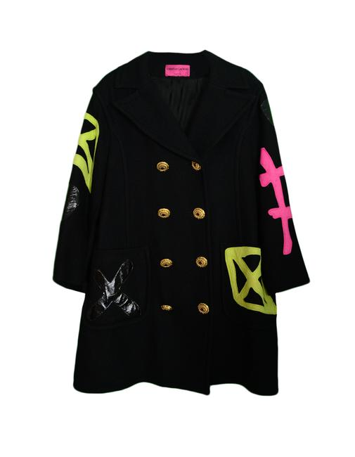 Item - Black W Wool Double Breasted W/ Multi-color Patch Jacket Size 12 (L)