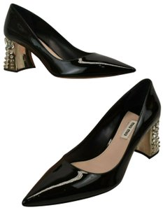 Miu Miu Patent Leather Pointed Toe Jeweled Heel Black Pumps