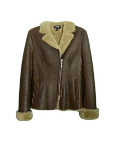 Post Card Shearling Coat Brown Leather Jacket