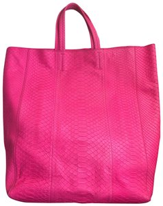 Céline Hot Python Leather Contemporary Edgy Tote in Pink