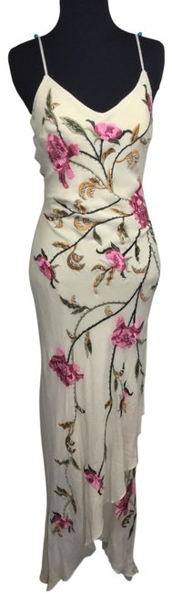 Item - Beige/Pink/Green Embroidered/Beaded Floral Silk Chiffon Asymmetric Cocktail Dress Size 4 (S)