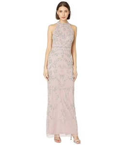 Adrianna Papell Dusty Pink Beaded Halter Formal Bridesmaid/Mob Dress Size 6 (S)