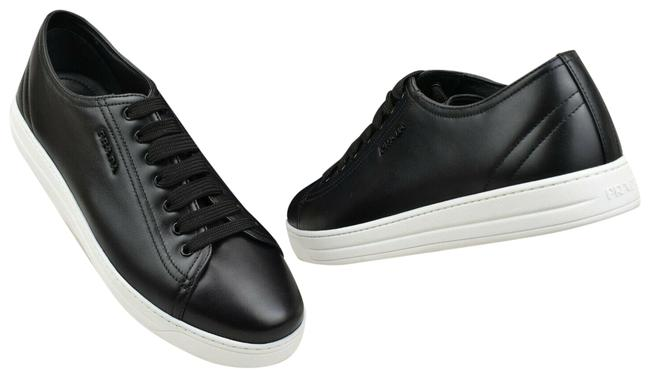 Item - Black 3e6187 Leather Logo Lace Up Tennis Sneakers Size EU 41 (Approx. US 11) Regular (M, B)