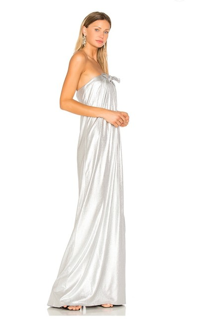 Item - Silver Strapless Bow Gown Long Formal Dress Size 2 (XS)