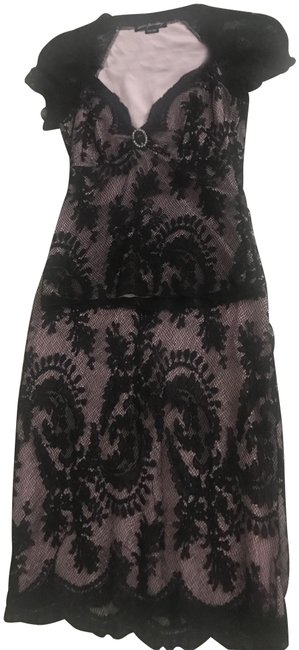 Item - Black/Pink Two Piece Set Mid-length Cocktail Dress Size OS (one size)