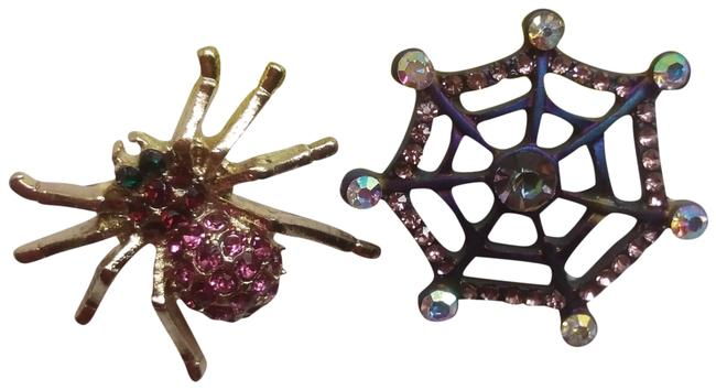 Item - Hot Pink New Mismatch Spider and Web Earrings
