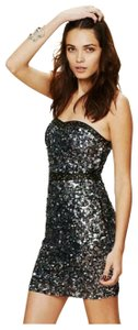 Free People Bodycon Sequin Beads Leather Dress