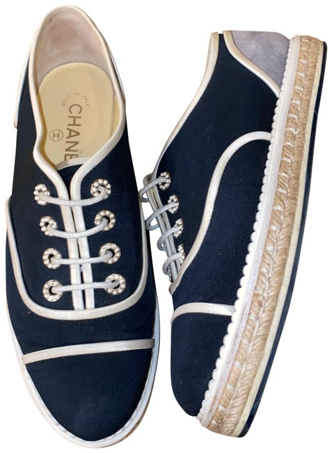 Item - Blue Oxford Espadrille Navy Pearl Rivet Hemp Linen Sneakers Size US 8.5 Regular (M, B)