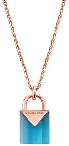 Michael Kors NEW 14K Rose Gold-Plated Sterling Silver Lock Necklace MKC1039AI
