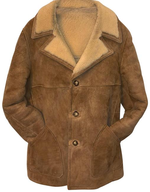 Item - Tan Natural Sueded Shearling Men's Coat Size OS (one size)