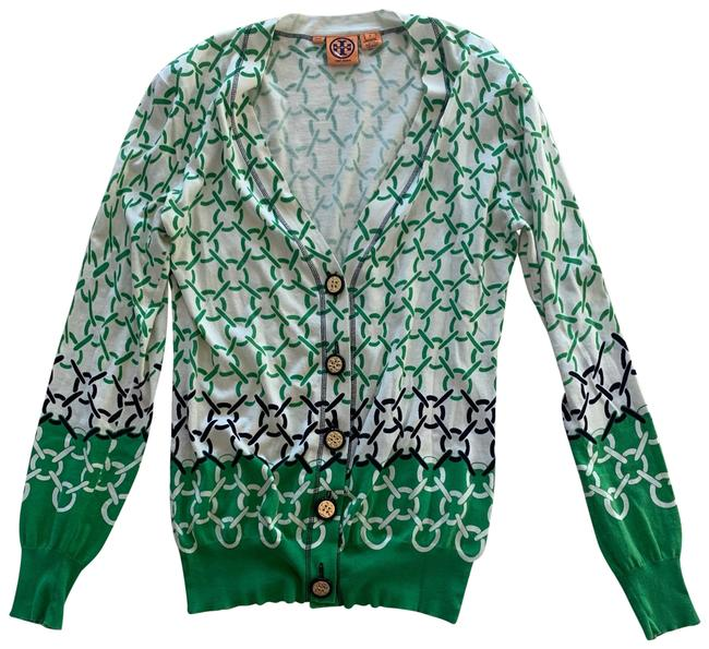 Item - Green White Black Like New Gold Button Down and Sweater Cardigan Size 8 (M)