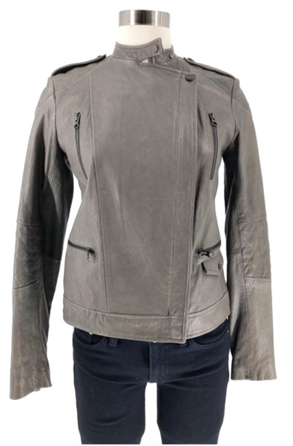 Vince Grey Quilted Sleeved Moto Jacket Size 2 (XS) Vince Grey Quilted Sleeved Moto Jacket Size 2 (XS) Image 1