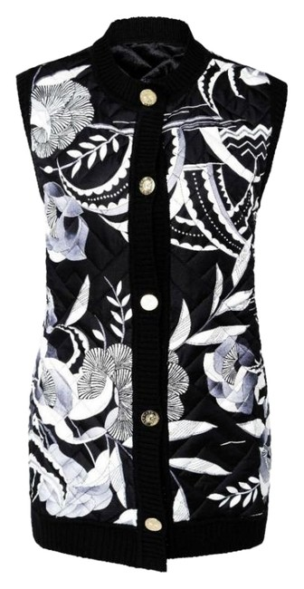 Item - Black / White Quilted Button Front Vest Size 4 (S)