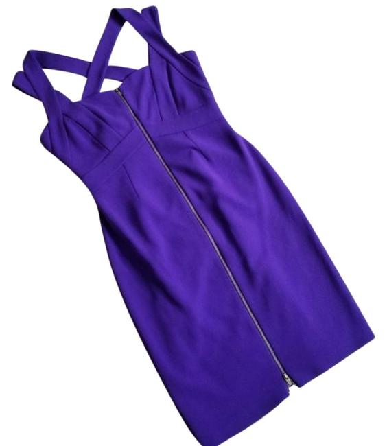 Item - Purple Corinne Acid Grape Exposed Zip Bodycon Short Cocktail Dress Size 4 (S)