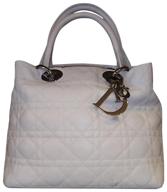 Dior Lady Cannage Soft Tote White Leather Hobo Bag Dior Lady Cannage Soft Tote White Leather Hobo Bag Image 1