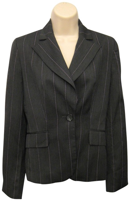 Item - Gray Striped Single Breasted One Button Wool Flap Pockets Blazer Size 0 (XS)