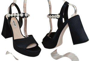 Miu Miu Jeweled Heel Strap Satin Black Pumps