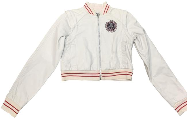 Item - White Junior Lamb Leather Bomber (Two In One and Vest Jacket Size 0 (XS)