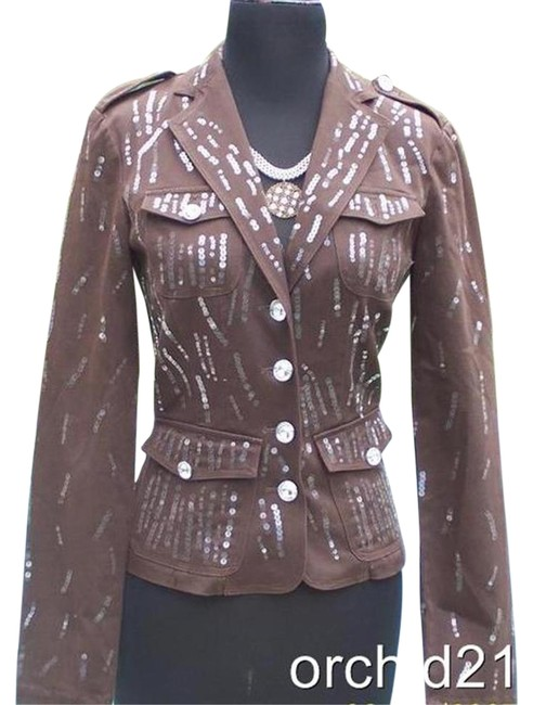 Item - Brown Sequin Encrusted Gemstone Buttons Jacket Top New Fitted Blazer Size 10 (M)