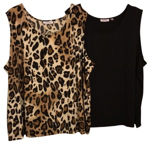 Joan Rivers Top Black and Leopard print