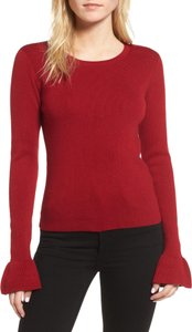 cupcakes and cashmere Bell Sleeves Crimson Sweater