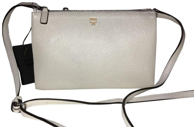Item - Milla Double Zip White Flake Leather Cross Body Bag