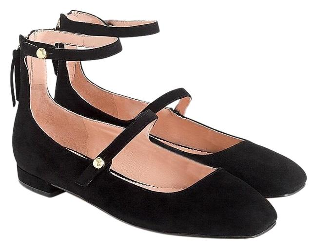 J.Crew Black Poppy Double Strap Suede Ballet Flats Sally Style Wedges Size US 8.5 Regular (M, B) J.Crew Black Poppy Double Strap Suede Ballet Flats Sally Style Wedges Size US 8.5 Regular (M, B) Image 1