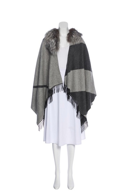 Item - Taupe and Charcoa Wool Cashmere Blend Poncho Shawl with Silver-fox Fur Trim Scarf/Wrap