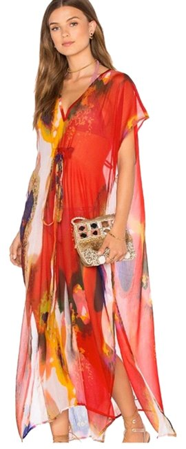 Item - Red Pink Purple Yellow Pastel Gardens Color: Samba Cover-up/Sarong Size OS (one size)