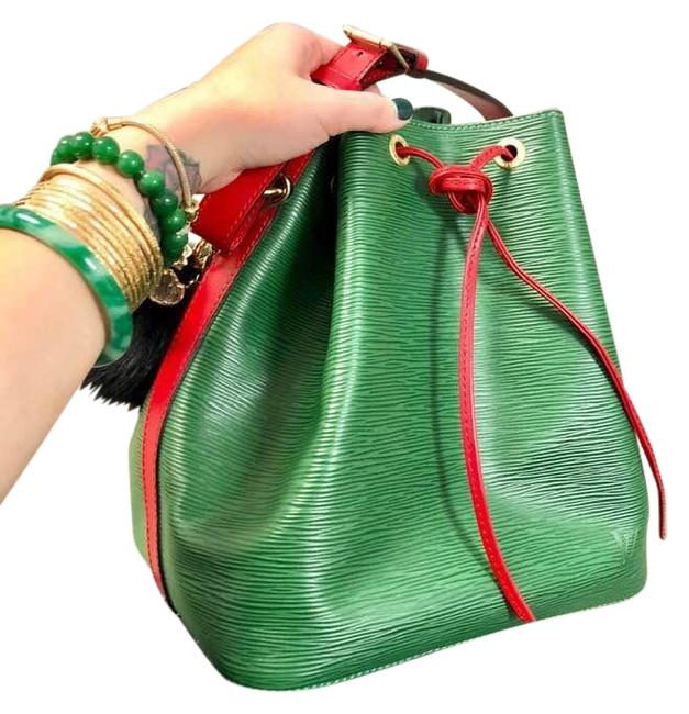 Item - NéoNoé Noe Nm Green Red Leather Hobo Bag