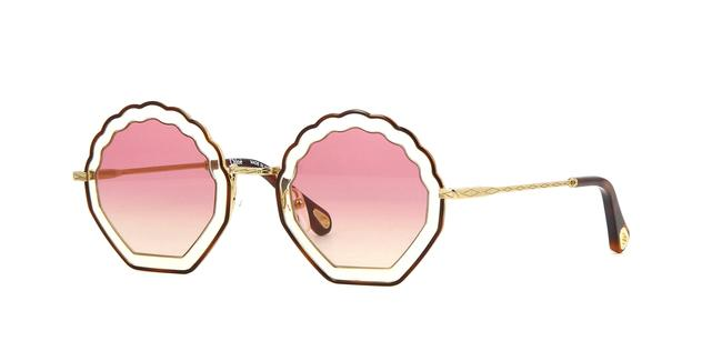 Item - Gradient Pink Gold Havana Tally Shell Sunglasses