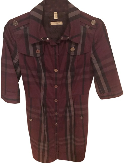 Item - Plum Check Plaid Belted Mini Short Casual Mid-length Work/Office Dress Size 4 (S)
