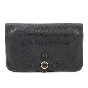 Hermes Auth Hermes Dogon Gm Square F Stamp Leather Wallet #1469H20