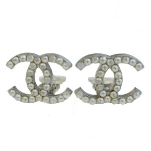 Chanel Silver Cc Earrings Imitation Pearl Plated 04p Necklace