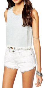 Somedays Lovin Embroidered Frayed Edgy Sleeveless Destroyed Top Blue