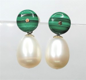 Green 14k Gold Pearl Malachite Drop Earrings