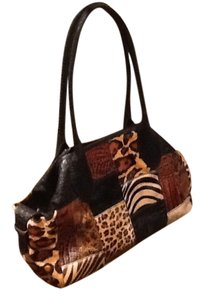 Clever Carriage Company Vintage Crocodile Natural Hides Snake Tote Carry On Luggage Satchel in Whipstitched Safari patch. Leather Black embossed croc.
